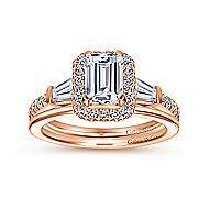 14k Rose Gold Emerald Cut Halo Engagement Ring angle 4