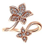 14k Rose Gold Floral Bypass Open Fashion Ring
