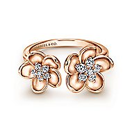 14k Rose Gold Floral Fashion Ladies' Ring