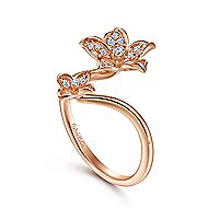 14k Rose Gold Floral Fashion Ladies Ring
