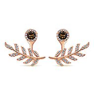 14k Rose Gold Floral Peek A Boo Earrings