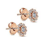 14k Rose Gold Floral Stud Earrings