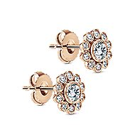 14k Rose Gold Floral Stud Earrings