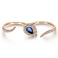 14k Rose Gold Lusso Color Double Ring Ladies' Ring