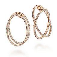14k Rose Gold Lusso Intricate Hoop Earrings angle 1