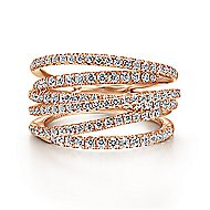 14k Rose Gold Lusso Twisted Ladies' Ring angle 1