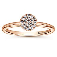 14k Rose Gold Silk Classic Ladies' Ring angle 4