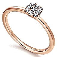 14k Rose Gold Silk Classic Ladies' Ring angle 3