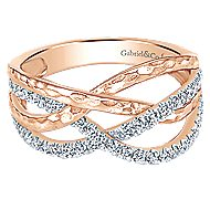 14k Rose Gold Souviens Wide Band Ladies' Ring angle 1