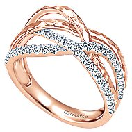 14k Rose Gold Souviens Wide Band Ladies' Ring angle 3