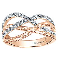 14k Rose Gold Souviens Wide Band Ladies' Ring angle 4