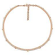 14k Rose Gold Spiked Diamond Choker Necklace