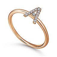 14k Rose Gold Stackable Initial Ladies' Ring