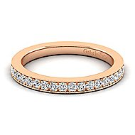 14k Rose Gold Victorian Straight Wedding Band angle 1