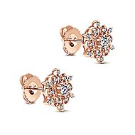 14k Rose Gold Victorian Stud Earrings angle 2