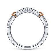 14k White And Rose Gold Contemporary Curved Wedding Band