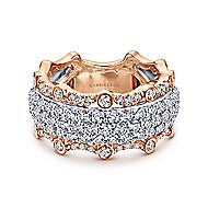 14k White And Rose Gold Contemporary Fancy Anniversary Band angle 1
