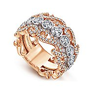 14k White And Rose Gold Contemporary Fancy Anniversary Band angle 3