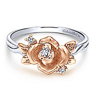 14k White And Rose Gold Floral Fashion Ladies' Ring angle 1
