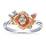 14k White And Rose Gold Floral Fashion Ladies' Ring