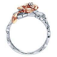 14k White And Rose Gold Floral Fashion Ladies' Ring angle 2