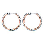 14k White And Rose Gold Hampton Classic Hoop Earrings angle 3