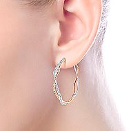 14k White And Rose Gold Hoops Intricate Hoop Earrings angle 4