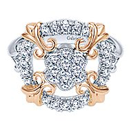 14k White And Rose Gold Lusso Classic Ladies' Ring angle 1