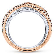 14k White And Rose Gold Lusso Wide Band Ladies' Ring angle 2