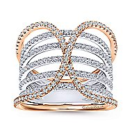 14k White And Rose Gold Lusso Wide Band Ladies' Ring angle 4