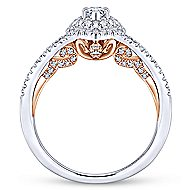 14k White And Rose Gold Marquise  Double Halo Engagement Ring angle 2