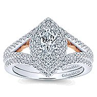 14k White And Rose Gold Marquise  Double Halo Engagement Ring angle 4
