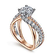 14k White And Rose Gold Round Free Form Engagement Ring
