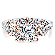 14k White And Rose Gold Round Halo Engagement Ring angle 1