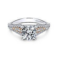 14k White And Rose Gold Round Straight Engagement Ring angle 1