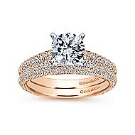14k White And Rose Gold Round Straight Engagement Ring angle 4
