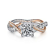 14k White And Rose Gold Round Twisted Engagement Ring angle 1