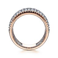 14k White And Rose Gold Silk Fashion Ladies Ring
