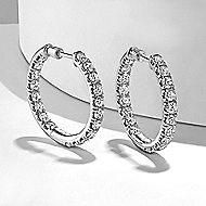 14k White Gold 20mm Classic Diamond Inside Out Hoop Earrings
