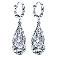 14k White Gold Allure Drop Earrings angle 2