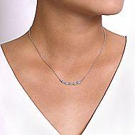14k White Gold Art Moderne Bar Necklace angle 3