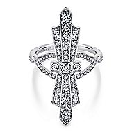 14k White Gold Art Moderne Fashion Ladies' Ring