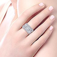 14k White Gold Art Moderne Fashion Ladies' Ring angle 5