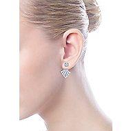 14k White Gold Art Moderne Peek A Boo Earrings angle 4