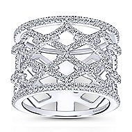 14k White Gold Art Moderne Wide Band Ladies' Ring angle 1