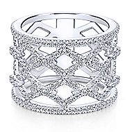 14k White Gold Art Moderne Wide Band Ladies' Ring angle 4