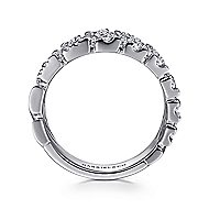 14k White Gold Art Moderne Wide Band Ladies' Ring