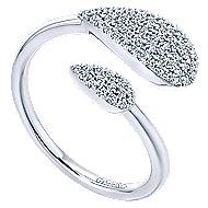 14k White Gold Asymmetrical Open Diamond Cluster Fashion Ring