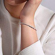 14k White Gold Beaded Open Hexagonal Diamond Cluster Bangle Bracelet