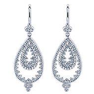 14k White Gold Bujukan Drop Earrings angle 1